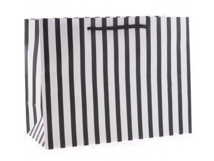 Dárková papírová taška černo-bílá