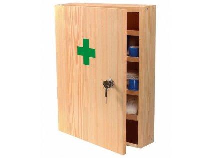 Dřevěná nástěnná lékárnička uzamykatelná