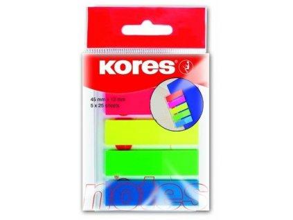 Plastové záložky Kores Index Strips 5 barev