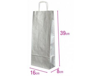 Dárková papírová taška na víno stříbrná