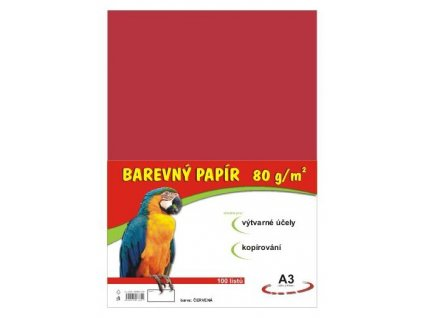 Barevné papíry A3 80g 100ls červené