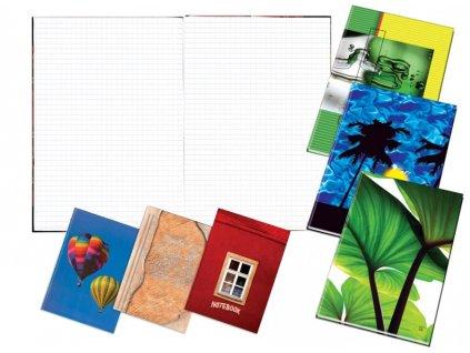 Záznamní kniha šitá A6 100 listů čtverečkovaná
