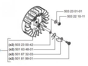 Setrvačník- Ventilátor s magnetem Husqvarna K750, K760 originál 5877021-02