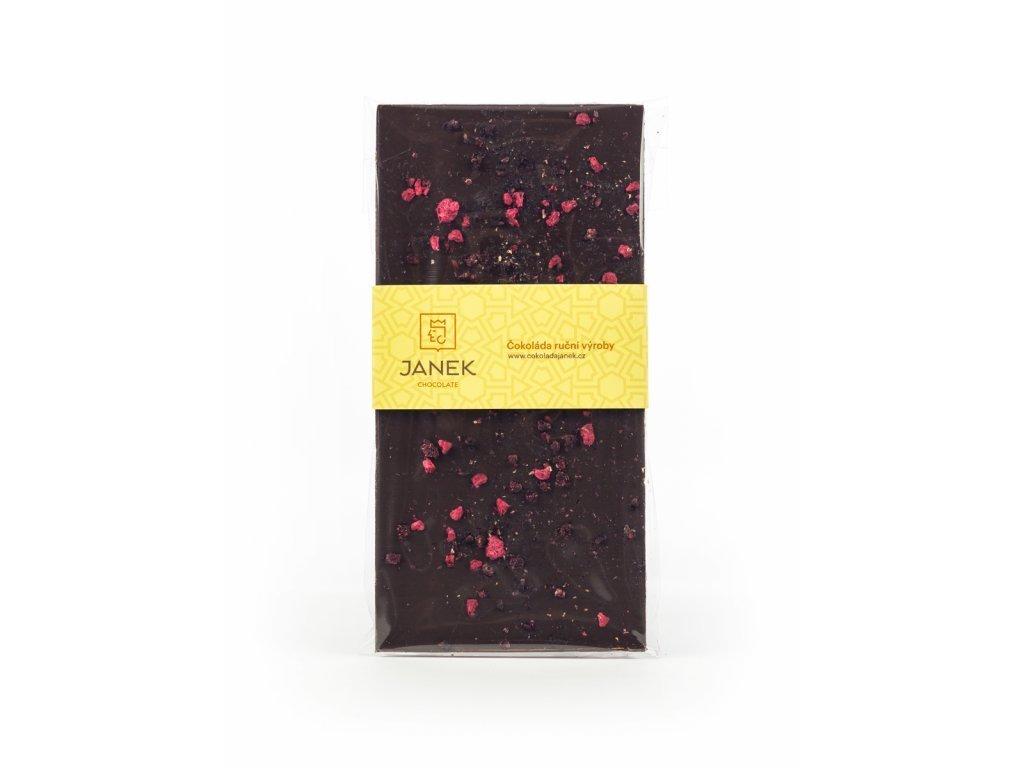 Hořká čokoláda 64% s malinami a ostružinami, Čokoládovna Janek - 85 g