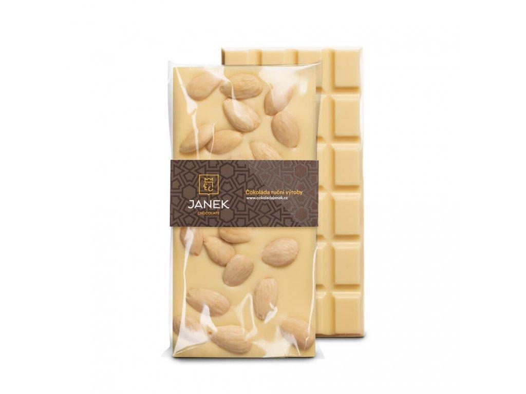 Bílá čokoláda s mandlemi 31%, Čokoládovna Janek - 105 g