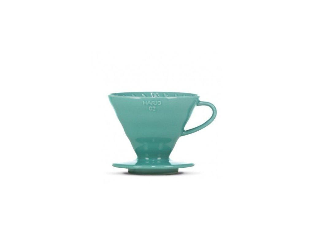 Hario keramický dripper V60-02 tyrkys. zelený + 40 filtrů