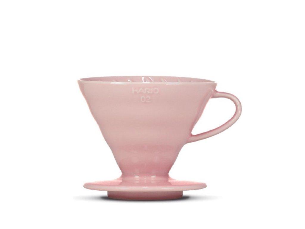 Hario keramický dripper V60-02 růžový + 40 filtrů