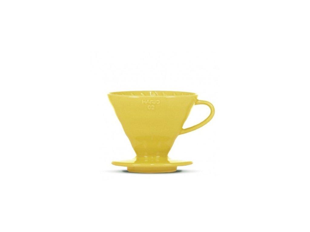 Hario keramický dripper V60-02 žlutý + 40 filtrů