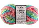 Příze Admiral print continious 1745int grass rosa turquoise 75% vlna, 25% polyamid ponožková příze 100g