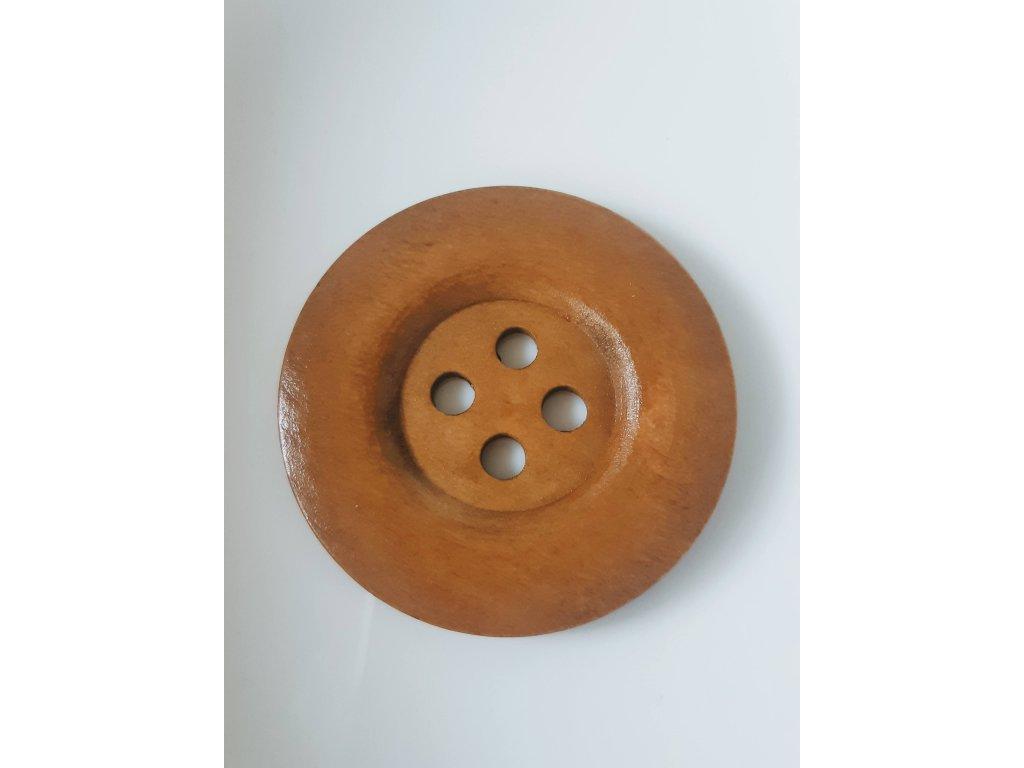 Knoflík dřevěný 4-dírky vel. 50 mm stř. hnědý