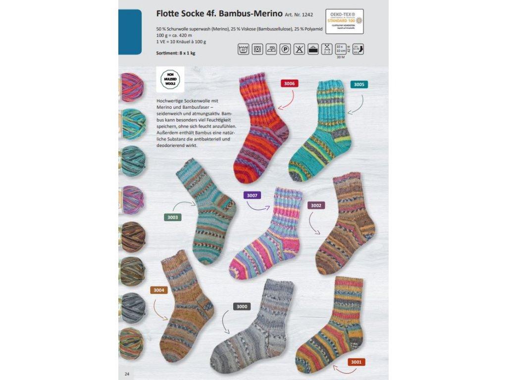 Příze Flotte Socke 4fach Bambus-Merino, 100g