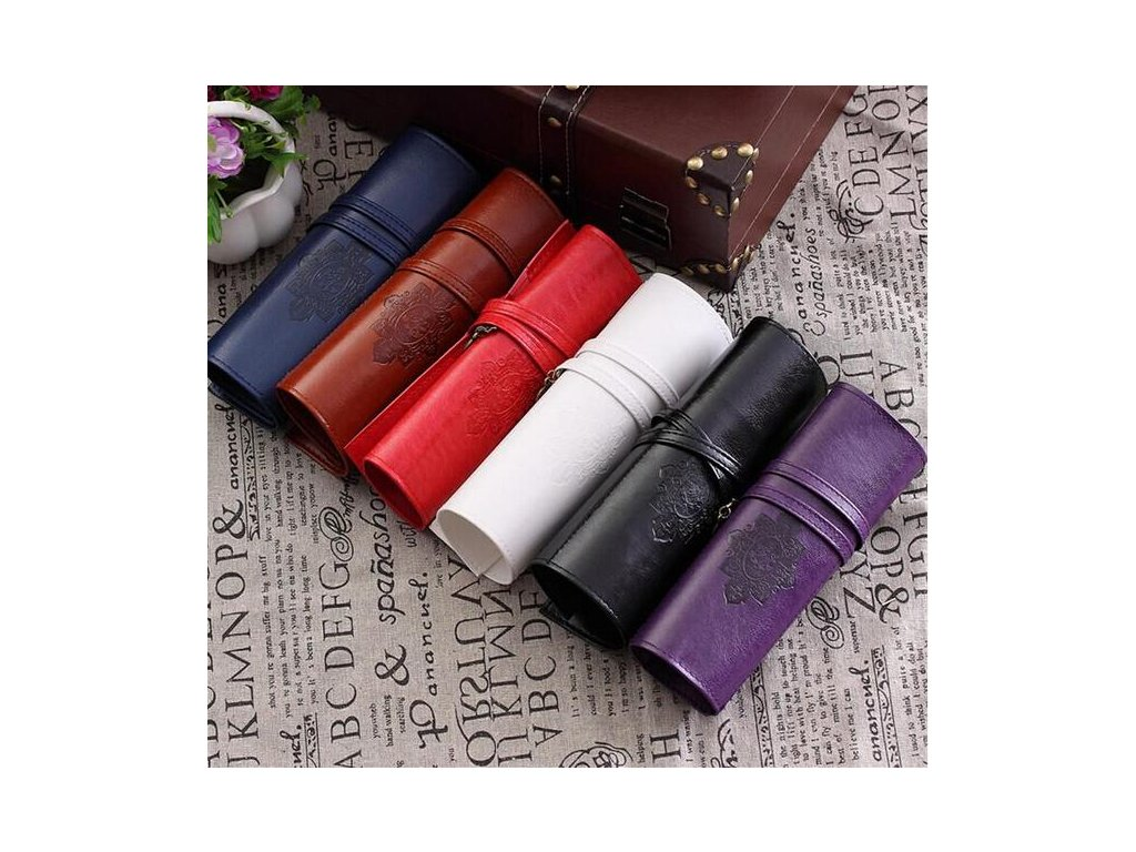 Vintage Retro Luxury Roll Leather Make Up Cosmetic Pen Pencil Case Pouch Purse Bag for School