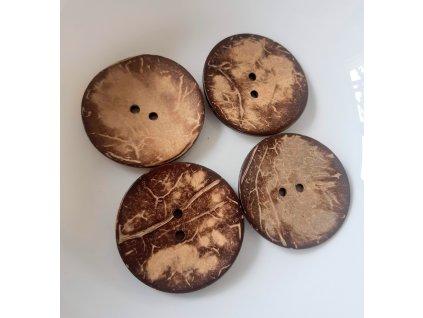 Knoflík kokosový 2-dírky vel. 50 mm stř. hnědý