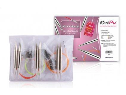 Knit Pro Nova Metal Chunky set tlustých šroubovacích jehlic