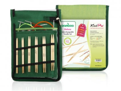 Knit Pro Bamboo DeLuxe set kruhových šroubovacích jehlic