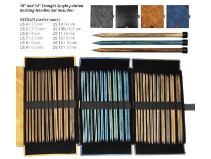 Sada LYKKE rovné dlouhé dřevěné jehlice v etui VÍCE DRUHŮ