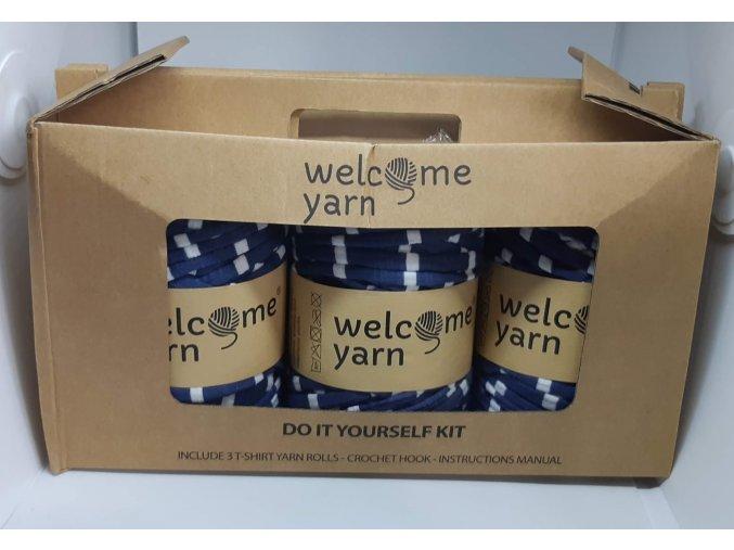 Špagáty Welcome yarn sada modro-bílé pruhy