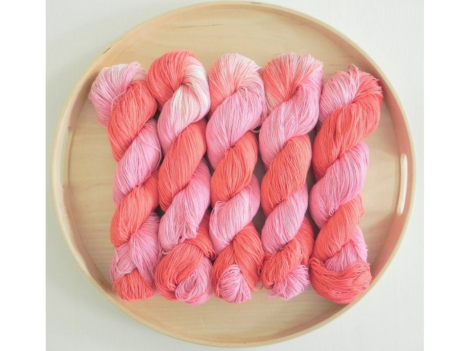 """Příze Katrincola yarn 100% bavlna letní """"jahodová s malinovou"""", 100g -"""