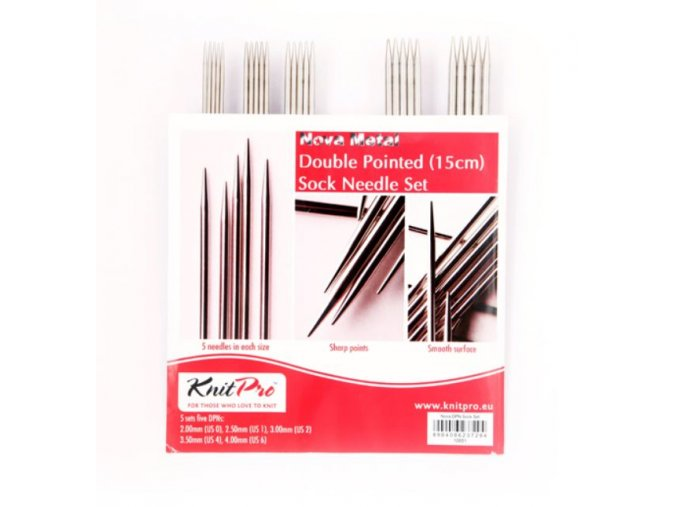Ponožkové jehlice Knit Pro Nova Metall set 15cm, 5 sad 2,00 - 4,00mm