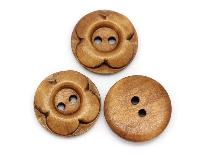Knoflík dřevěný 2-dírky vel. 20mm středně hnědý kytka