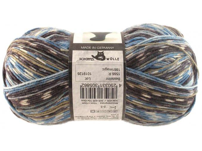 Příze Admiral print continious 1861magic blue pot 75% vlna, 25% polyamid ponožková příze 100g