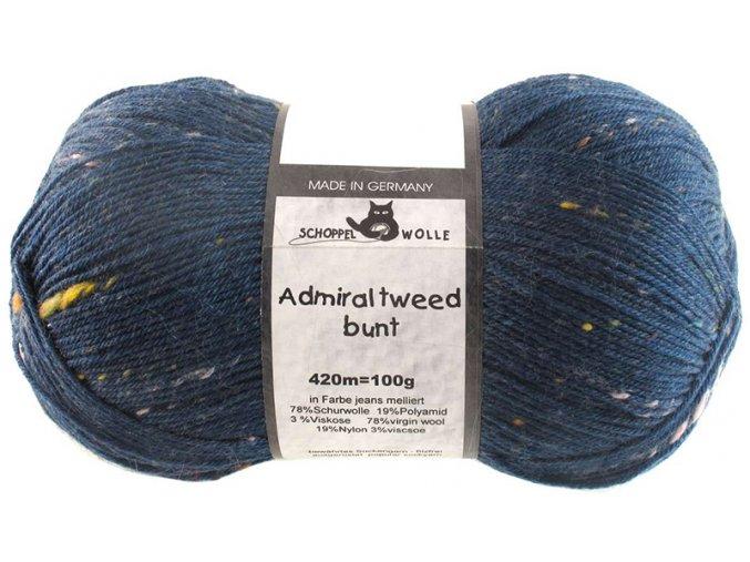 Příze Admiral tweed bunt 4993 modrá ponožková 100g -