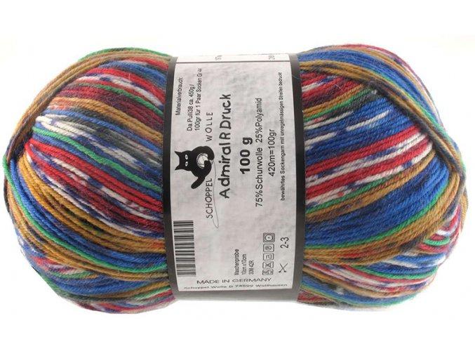 Příze Admiral print continious 1977magic blue house 75% vlna, 25% polyamid ponožková příze 100g