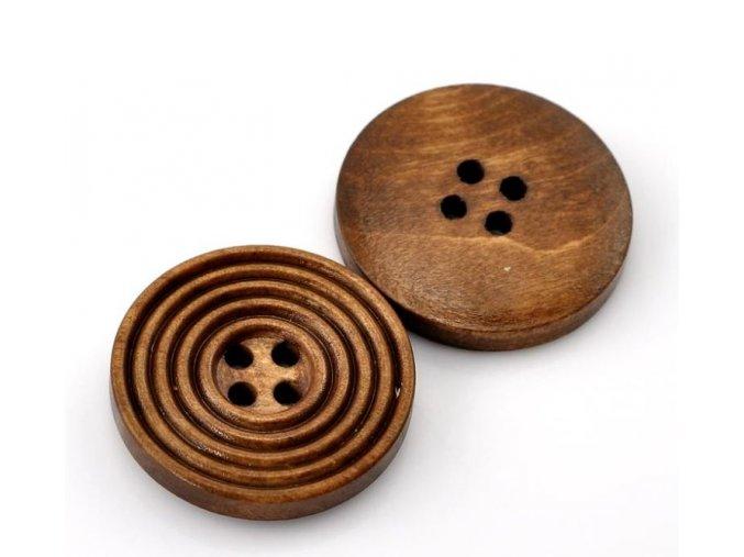 Knoflík dřevěný 4-dírky vel. 25mm středně hnědý s drážkami