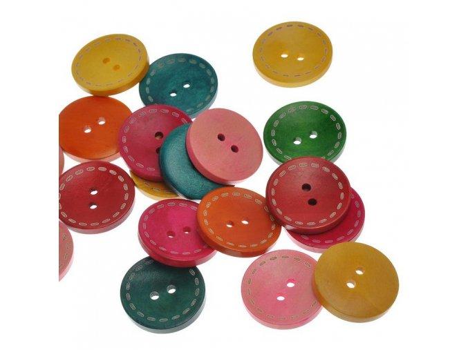 Knoflík dřevěný 2-dírky vel. 29,7mm barevný mix