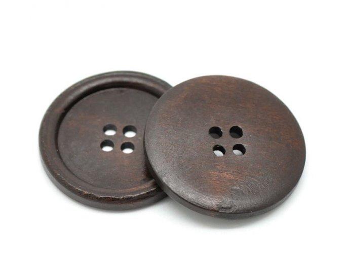 Knoflík dřevěný 4-dírky vel. 40mm tmavý