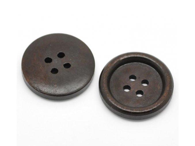 Knoflík dřevěný 4-dírky vel. 25mm tmavý