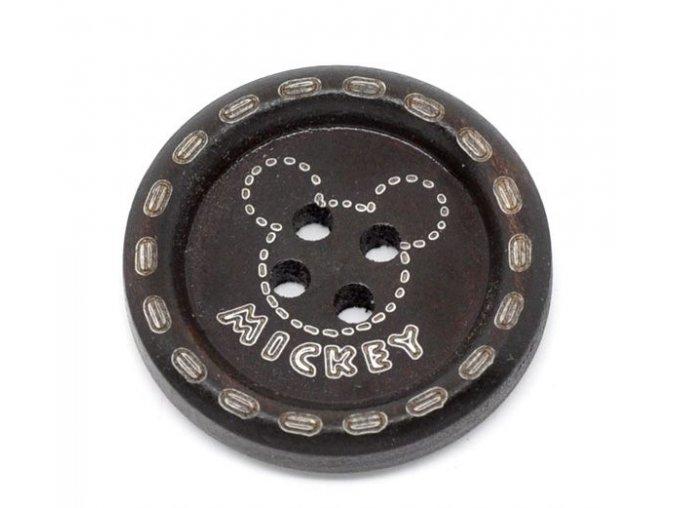 Knoflík dřevěný 4-dírky vel. 25mm tmavě hnědý Mickey