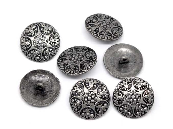 Hoomall 20PCs Silver Tone Jeans Button Carved Pattern Sewing Metal Shank Buttons 25mm Craft DIY