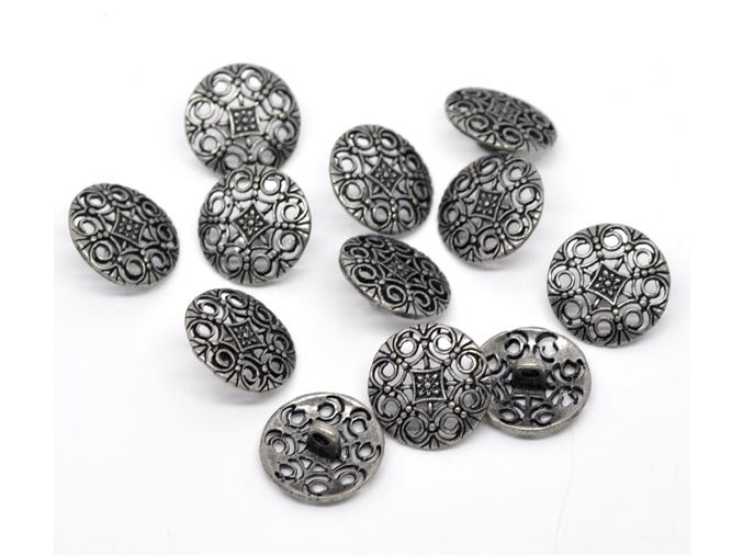 Hoomall 50 Silver Tone Hollow Pattern Carved Jean Button Sewing Metal Shank Buttons Jean Buttons 18mm