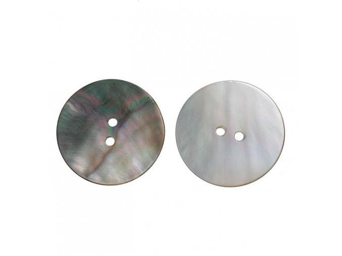 Knoflík z přírodní pravé perleti 2-dírky 25mm