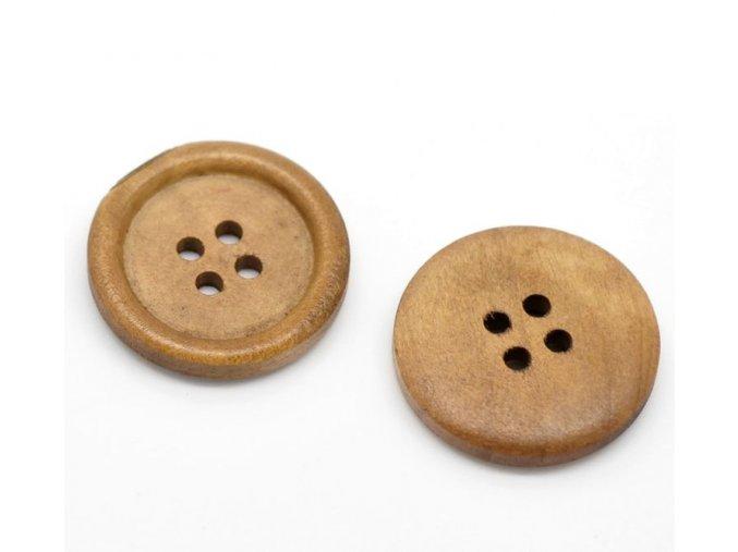 Knoflík dřevěný 4-dírky vel. 25mm světle hnědý