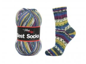 Ponožková příze Vlna-Hep Best Sock 7006, 75% vlna, 25% polyamid, 100g