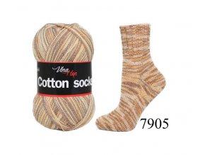 Ponožková příze Vlna-Hep Cotton Sock 7905, 100g