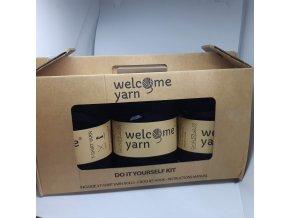 Špagáty Welcome yarn sada černá, stříbrný detail