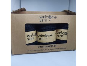 Špagáty Welcome yarn sada černá pruhy