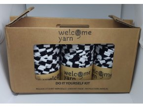 Špagáty Welcome yarn sada černo-bílá