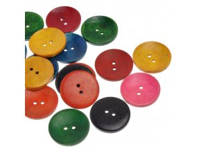 Hoomall New 20PCs Wooden Buttons 2 Holes Round Mixed Colors 40mm x40mm