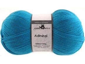 Příze Admiral 4780 turquoise 75% vlna, 25% polyamid ponožková příze 100g