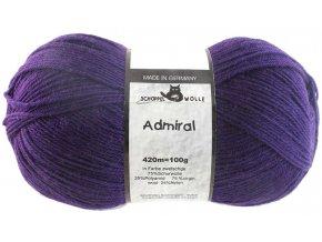 Příze Admiral 3693 plum 75% vlna, 25% polyamid ponožková příze