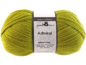 Příze Admiral 0383 oliv 75% vlna, 25% polyamid ponožková příze 100g