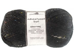 Příze Admiral tweed bunt 880 černá ponožková 100g -