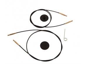 Knit Pro lanko černé  se zlatými konektory šroubovací - různé délky