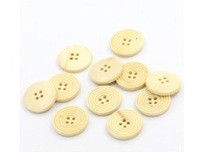 Hoomall Wholesale 50PCs Pale Yellow Round 4 Holes Wooden Buttons Sewing Scrapbooking 25mm 1 Dia Sewing