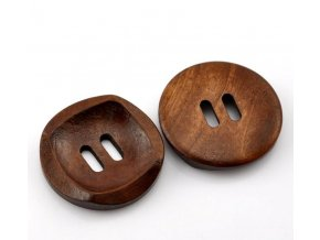 Knoflík dřevěný 2-dírky vel. 30mm středně tmavý