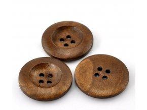 Knoflík dřevěný 4-dírky vel. 25mm středně hnědý